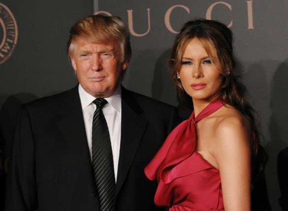 """Donald Trump and wife Melania Trump arrives at """"A Night to Benefit Raising Malawi and UNICEF"""" at United Nations headquarters, Wednesday, Feb. 6, 2008 in New York. (AP Photo/Evan Agostini)"""